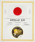 Explorers:Space Exploration, Apollo 13 Flown National Flag of Japan Directly from the PersonalCollection of Mission Commander James Lovell, Certified and ...