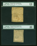 Colonial Notes:Pennsylvania, Pennsylvania Colonial Error Lot. Two Examples. ... (Total: 2 notes)