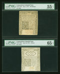 Colonial Notes:Connecticut, Connecticut July 1, 1775 40s PMG About Uncirculated 55 EPQ.Connecticut June 19, 1776 6d PMG Gem Uncirculated 65 EPQ....(Total: 2 notes)