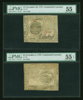Colonial Notes:Continental Congress Issues, Continental Currency November 25, 1775 $7 PMG About Uncirculated55, November 2, 1776 $4 PMG About Uncirculated 55 EPQ.... (Total: 2notes)
