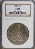 Seated Dollars, 1859 $1 AU55 NGC....