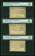 Colonial Notes:New York, Pleasing Mid-Grade Trio of New York September 2, 1775 Notes....(Total: 3 notes)