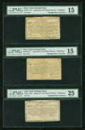 Colonial Notes:New York, Bright Trio of New York Colonial Notes August 25, 1774 (WaterWorks) 2s PMG Very Fine 25,. 4s PMG Choice Fine 15,. 8s PMG Choi...(Total: 3 notes)