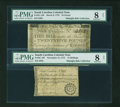 Colonial Notes:South Carolina, Evenly Matched Pair of South Carolina Colonial Notes March 6, 1776£25 PMG Very Good 8 NET, . November 15, 1775 15s PMG Very G...(Total: 2 notes)
