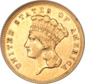 Three Dollar Gold Pieces, 1855-S $3 AU55 NGC....