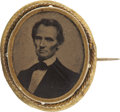 Political:Ferrotypes / Photo Badges (pre-1896), Abraham Lincoln: Rare Oval 1860 Ferrotype. ...