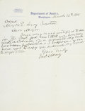 "Autographs:Military Figures, John S. Mosby Autograph Letter Signed. One page, 8"" x 10"", March 12, 1908, Washington, on ""Department of Justice"" letter..."