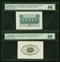 Fractional Currency:First Issue, Fr. 1313SP 50¢ First Issue Wide Margin Pair PMG Gem Uncirculated 66.... (Total: 2 notes)