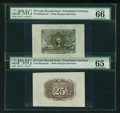 Fractional Currency:Second Issue, Fr. 1283SP 25¢ Second Issue Wide Margin Pair PMG Gem Uncirculated 66 and 65.... (Total: 2 notes)