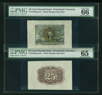 Fr. 1283sp 25¢ Second Issue Wide Margin Pair PMG Gem Uncirculated 66 and 65