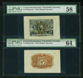 Fractional Currency:Second Issue, Fr. 1232SP 5¢ Second Issue Wide Margin Pair PMG Choice Uncirculated 64 and Choice About Unc 58.... (Total: 2 notes)