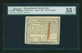 Colonial Notes:Massachusetts, Massachusetts May 5, 1780 $20 Contemporary Counterfeit PMG AboutUncirculated 55 EPQ....