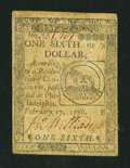 Colonial Notes:Continental Congress Issues, Continental Currency February 17, 1776 $1/6 Fine-Very Fine....
