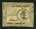 Colonial Notes:Continental Congress Issues, Continental Currency May 9, 1776 $3 Extremely Fine....