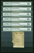 Colonial Notes:Rhode Island, Assortment of Rhode Island Colonial Notes May 1786 6d PMG AboutUncirculated 55, 9d PMG About Uncirculated 55, . 3s PMG Choice...(Total: 6 notes)