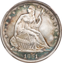 1861 50C Scott Restrike--Improperly Cleaned--NCS. AU Details....(PCGS# 340402)