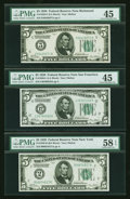 Small Size:Federal Reserve Notes, Fr. 1950-B, E, L $5 1928 Federal Reserve Notes. Three Examples. PMG Choice About Unc 58 EPQ & Choice Extremely Fine 45 (2).... (Total: 3 notes)
