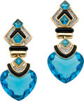 Estate Jewelry:Earrings, Blue Topaz, Diamond, Black Onyx, Gold Earrings. ... (Total: 2 Items)