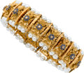Estate Jewelry:Bracelets, Sapphire, Diamond, Cultured Pearl, Gold Bracelet. ...