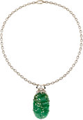 Estate Jewelry:Necklaces, Jade, Diamond, Enamel, Gold Necklace. ...