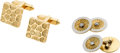 Estate Jewelry:Cufflinks, Pair of Diamond, Gold Cuff Links . ... (Total: 4 Items)