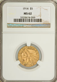 1914 $5 MS62 NGC. NGC Census: (636/468). PCGS Population (533/654). Mintage: 247,000. Numismedia Wsl. Price for NGC/PCGS...