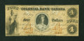 Canadian Currency: , Toronto, CW- The Colonial Bank of Canada $4 Apr. 6, 1859 Ch. #130-10-02-08. ...