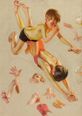 Paintings, JOSEPH CHRISTIAN LEYENDECKER (American, 1874-1951). Boys Diving, Saturday Evening Post cover study, 1935. Oil on canvas... (Total: 3 Items)