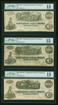 Confederate Notes:1862 Issues, T39 $100 1862. Two Examples.. T40 $100 1862.. ... (Total: 3 notes)