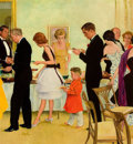 Mainstream Illustration, GEORGE HUGHES (American, 1907-1990). Dinner Party, SaturdayEvening Post cover, November 11, 1961. Oil on canvas. 25 x 2...