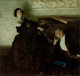 DEAN CORNWELL (American, 1892-1960) Romantic Couple Seated by Piano, Hearst's International magazine illustration, Marc...
