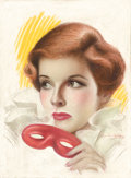 Pin-up and Glamour Art, CHARLES GATES SHELDON (American, 1889-1960). Katherine Hepburn,Motion Picture Magazine cover. Pastel on board. 14.25 x ...