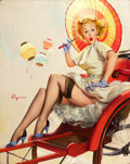 Pin-up and Glamour Art, GIL ELVGREN (American, 1914-1980). Something's Bothering You(What's Wrong?), 1957. Oil on canvas. 30 x 24 in.. Signed c...