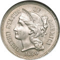 Three Cent Nickels, 1880 3CN MS66 NGC....