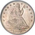 Seated Half Dollars, 1853 50C Arrows and Rays MS64 PCGS. CAC....