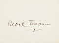 "Autographs:Authors, Mark Twain Signed Card. One page, 3.5"" x 2.5"", n.d., n.p., oncardstock. Boldly signed in ink...."
