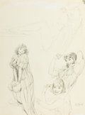 Pin-up and Glamour Art, AL BUELL (American, 1910-1996). Pin-up Combing Her Hair,study. Pencil on paper. 20 x 15 in.. Signed lower right. ...