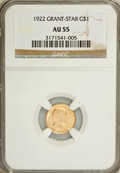 Commemorative Gold: , 1922 G$1 Grant With Star AU55 NGC. NGC Census: (2/1111). PCGSPopulation (3/2148). Mintage: 5,016. Numismedia Wsl. Price fo...