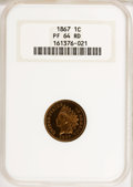 Proof Indian Cents, 1867 1C PR64 Red NGC....
