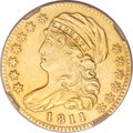 Early Half Eagles, 1811 $5 Tall 5--Removed from Jewelry--NCS. XF Details....