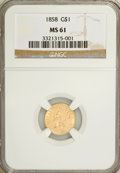 Gold Dollars: , 1858 G$1 MS61 NGC. NGC Census: (35/82). PCGS Population (17/80).Mintage: 117,995. Numismedia Wsl. Price for NGC/PCGS coin ...