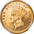 Three Dollar Gold Pieces, 1882 $3 MS63 Prooflike NGC. CAC....