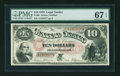Large Size:Legal Tender Notes, Fr. 99 $10 1878 Legal Tender PMG Superb Gem Unc 67 EPQ....