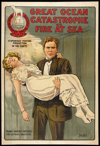 "The Great Ocean Catastrophe (Great Northern Film Co., 1921). One Sheet (27.5"" X 40""). Action"