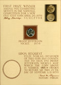 Proof Jefferson Nickels, 1938 Proof Jefferson Nickel Mounted with Signature....