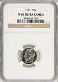 Proof Roosevelt Dimes, 1951 10C PR67 Ultra Cameo NGC....