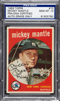 Autographs:Sports Cards, 1959 Topps Mickey Mantle #10, Signed....
