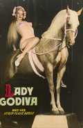 Pin-up and Glamour Art, AMERICAN ARTIST (20th Century). Lady Godiva and Her Strip-TeaseHorse. Vintage print. 60 x 39.75 in.. Not signed. ...