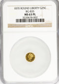 California Fractional Gold: , 1870 25C Liberty Round 25 Cents, BG-835, R.3, MS63 Prooflike NGC.NGC Census: (6/1). (#710696)...
