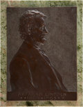 Political:Miscellaneous Political, [Abraham Lincoln]: Victor D. Brenner 1907-Dated Bronze LincolnPlaque with a Textured Background,...